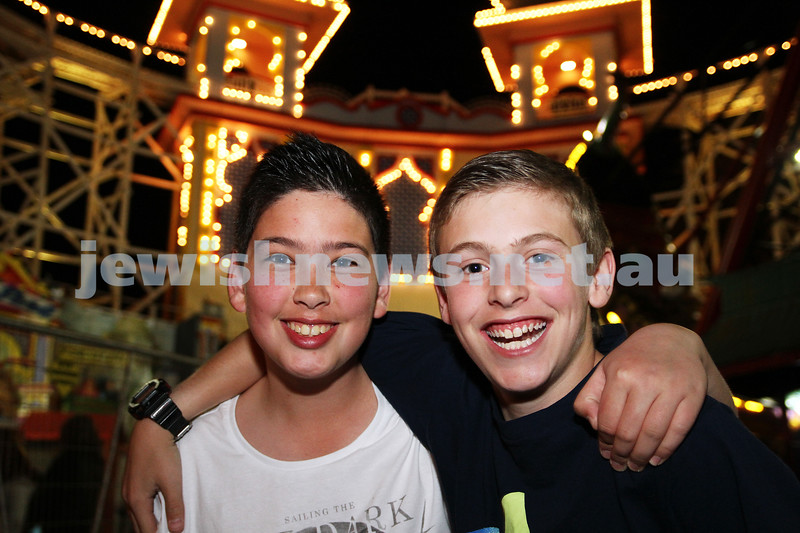3-10-12. Chabad Youth. Succot at Luna Park, Melbourne. Adin King (left), Jack Zuckerman. Photo: Peter Haskin