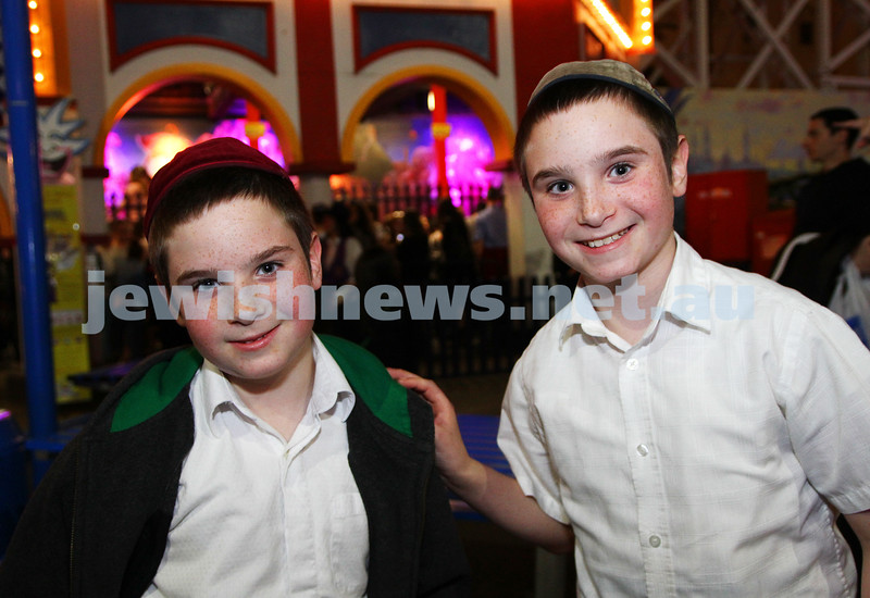 3-10-12. Chabad Youth. Succot at Luna Park, Melbourne. Mendel and Shmul Serebryanski. Photo: Peter Haskin