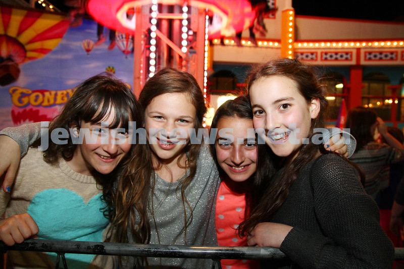 3-10-12. Chabad Youth. Succot at Luna Park, Melbourne. From left: Bianca Sher, Hannah Sacks, Emily Lederman, Timna Olcha. Photo: Peter Haskin