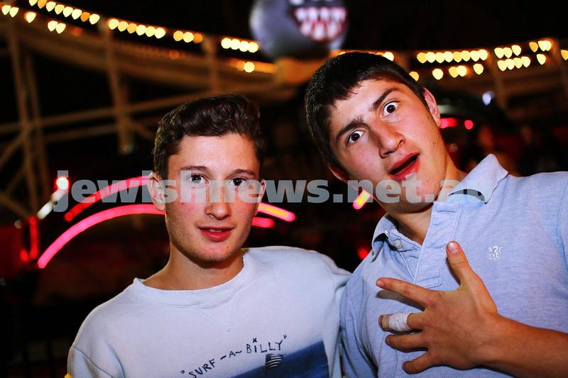 23-9-13. Chabad Youth annual Succot celebration at Luna Park. Eli Lerner (left), Levi Shelevetsky. Photo: Peter Haskin