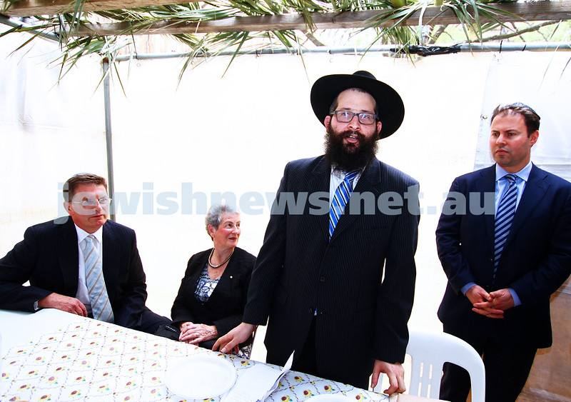 24-9-13. Succot in the Melbourne CBD. Chabad of Melbourne hosting lunch in their succah in the City Square. From left: Ted Baillieu Nina Bassat, Rabbi Chaim Herzog, Josh Frydenberg. Photo: Peter Haskin