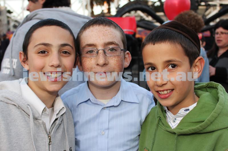 17-10-11. Sukkot at Luna Park. Reuben Zelig Shapiro, Zalman Serebryanski, Nochie Wolf. Photo: Lochlan Tangas