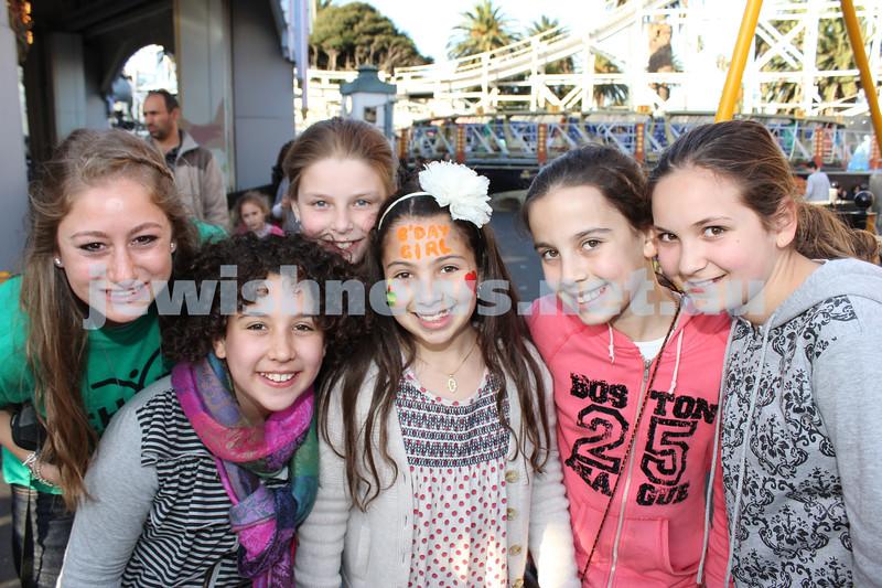 17-10-11. Sukkot at Luna Park. Chaya Block, Yona Teller, Emily Matich, Leah Althaus, Sara Joseph, Mussie Loewenthal. Photo: Lochlan Tangas
