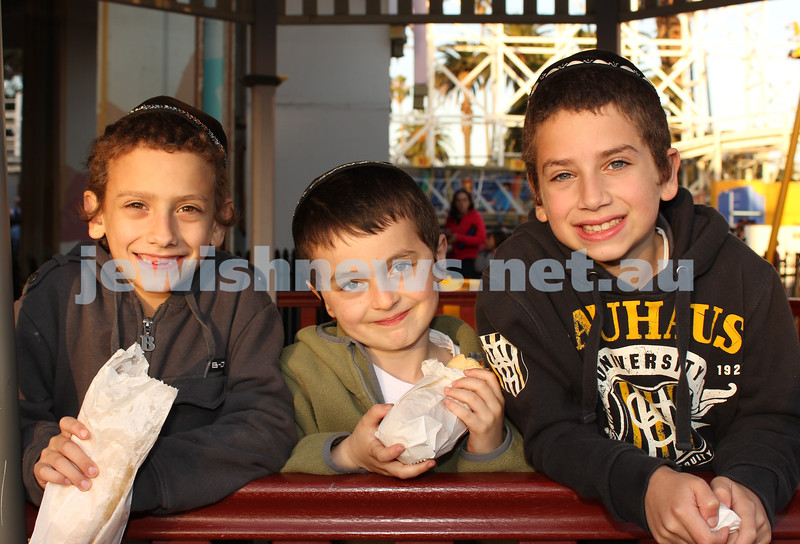 17-10-11. Sukkot at Luna Park. Giddy, Davi, Zac. Photo: Lochlan Tangas