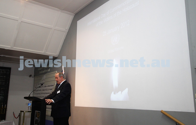 25-1-12. International Day of Commemoration in memory of the Victims of the Holocaust. Jewish Holocaust Centre, Elsternwick. Michael Cohen. Photo: Peter Haskin