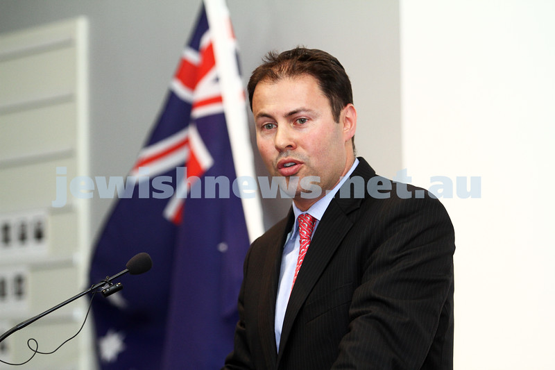 25-1-12. International Day of Commemoration in memory of the Victims of the Holocaust. Jewish Holocaust Centre, Elsternwick. Federal Member for Kooyong, Josh Frydenberg.  Photo: Peter Haskin