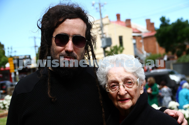 10-11-13. Rememberence Day 2013. VAJEX sevice at Caulfield RSL. Bram Presser and grand mother. Photo: Peter Haskin