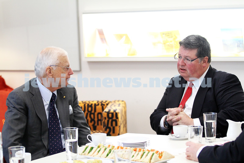 31-8-12. Victorian Govenor General, Alex Chernov visits Bialik College, Melbourne. Chatting with College President, Graham Goldsmith (right). Photo: Peter Haskin