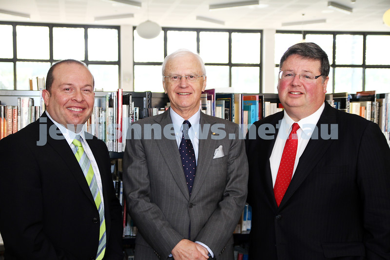 31-8-12. Victorian Govenor General, Alex Chernov visits Bialik College, Melbourne. From left: Gary Vellerman, Govenor Alex Chernov, Graham Goldsmith. Photo: Peter Haskin