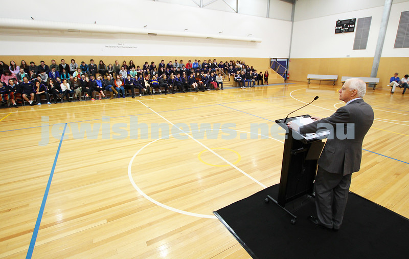 31-8-12. Victorian Govenor General, Alex Chernov visits Bialik College, Melbourne. Addressing students from the senior school.  Photo: Peter Haskin