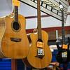 Left-handed guitars hang at Pulse Music in Logansport on Thursday, Sept. 30, 2021.