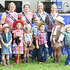 Kevin Burkett | Pharos-Tribune<br /> <br /> Contestants in the 2017 Little Miss Cowgirl and Mr. Cowboy Contest pose with 2017 Miss Cass County Shailin Heckard, back row second from left, before the wiinres are announced on Wednesday, July 12, 2017.