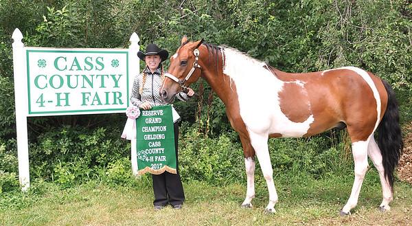 Kevin Burkett | Pharos-Tribune<br /> <br /> Jordyn Hensley won Reserve Grand Champion gelding for her horse, Dakota, in the 2017 Cass County 4-H Fair.