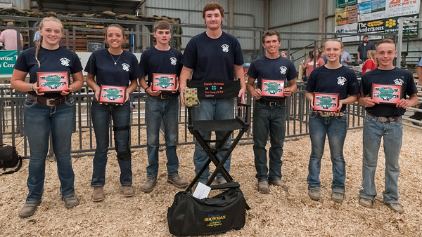 The 2018 Cass County 4-H Premier Showman Contest Participants are from left, Esther McKaig, Allison Foerg, Evan Ulery, winner Wyatt Helms, Damon Montgomery, Jasmine Rudicel, and Ethan Beaman. Fran Ruchalski | Pharos-Tribune