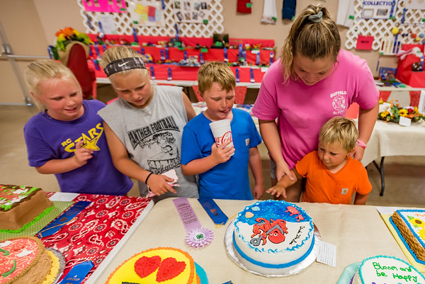 Addie Cripe, 12, second from left, shows off the cake she made and her ribbons to Lois Layer, 9, Ronnie Layer, 8, Mariah Hines, 13, and Garth Layer, 5, who can't wait to dig into Cripe's cake to try it for himself. Fran Ruchalski | Pharos-Tribune