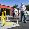 Tom Partridge inspects a bike rack during a Live United Day project at Steinberger Construction in Logansport on Friday, Sept. 10, 2021.
