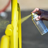 Paint is applied to a bike rack during a Live United Day project at Steinberger Construction in Logansport on Friday, Sept. 10, 2021.
