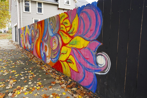 A mural painted on a fence by Indiana University Fine Art student Sienna Urbina, 20, on Wednesday, Oct. 28, 2020 in Logansport, Indiana.<br /> Jonah Hinebaugh | Pharos-Tribune