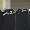The signature of Indiana University student Sienna Urbina appears on the mural she painted on a fence on Wednesday, Oct. 28, 2020 in Logansport, Indiana.<br /> Jonah Hinebaugh | Pharos-Tribune