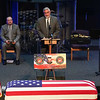 Gov. Eric Holcomb speaks to those attending the funeral service for Marine Cpl. Humberto Sanchez at LifeGate Church in Logansport on Tuesday, Sept. 14, 2021.