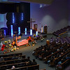 People gather before the funeral service for Marine Cpl. Humberto Sanchez at LifeGate Church in Logansport on Tuesday, Sept. 14, 2021.
