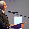 Former Vice President Mike Pence speaks during the funeral service for Marine Cpl. Humberto Sanchez at LifeGate Church in Logansport on Tuesday, Sept. 14, 2021.