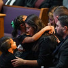 The family of Marine Cpl. Humberto Sanchez wait for the start of the funeral service at LifeGate Church in Logansport on Tuesday, Sept. 14, 2021.