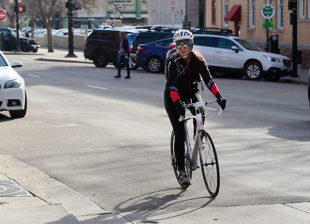 . BOULDER, CO - March 21, 2019: Rana Gheissari arrives at her work at Spruce and Broadway after her trip from Louisville. Tens of thousands of people commute into Boulder everyday -- a trend that\'s challenging the city\'s climate change goals and illustrating how the middle class is being squeezed out of Boulder. For more photos, go to dailycamera.com. (Photo by Cliff Grassmick/Staff Photographer)