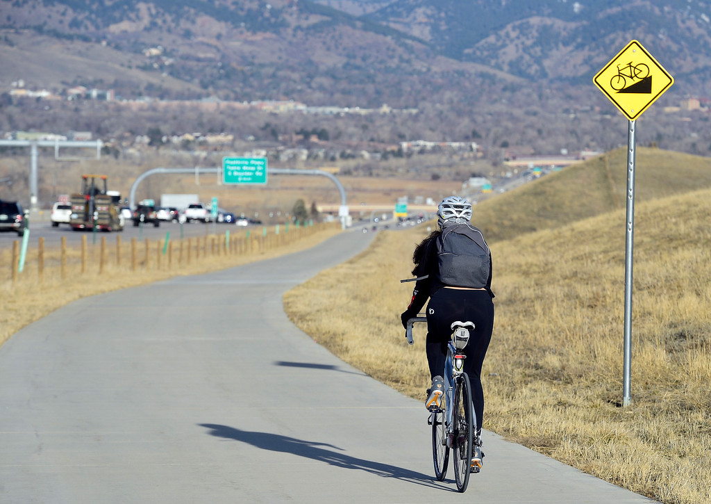 . BOULDER, CO - March 21, 2019: Rana Gheissari makes it to the top of Davidson Mesa from Louisville and on to her job in Boulder. Tens of thousands of people commute into Boulder everyday -- a trend that\'s challenging the city\'s climate change goals and illustrating how the middle class is being squeezed out of Boulder. For more photos, go to dailycamera.com. (Photo by Cliff Grassmick/Staff Photographer)
