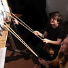 "Puppeteers Phil Jasen and SJ Ursrey rehearsing a scene from ""Lupita's Revenge."""
