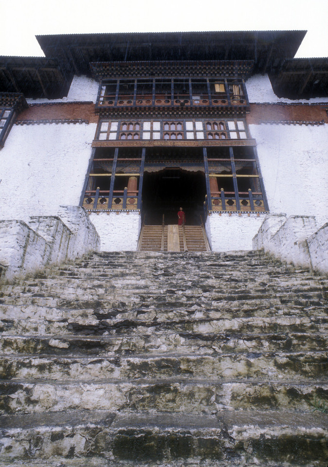 "This is the Punakha Dzong, where the guards, one of them with a fifteen inch dagger on the end of his rifle, were just boys. I asked Phruba what kind of guards they were. ""Royal Bhutan Police,"" he exclaimed. ""Most of them are over fifteen years old."""