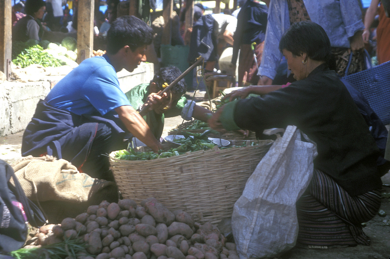 One guy sat sorting fat green chillies. He'd pause and turn, spit betel juice in his right hand, shake it behind him, and dig right back into the chillies.