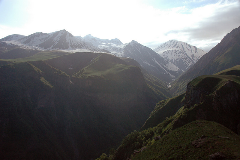 It didn't take long until we found ourselves in the high Caucasus mountains. Here's a view from a lookout alongside the Georgia Military Highway.