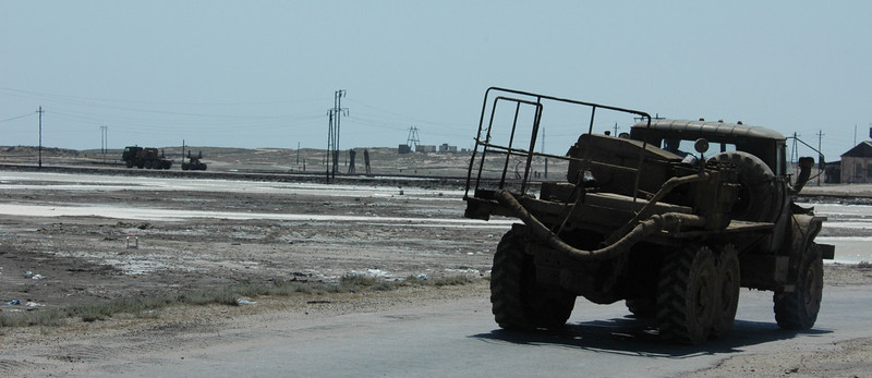 Truck on Pirallahi Island, Azerbaijan