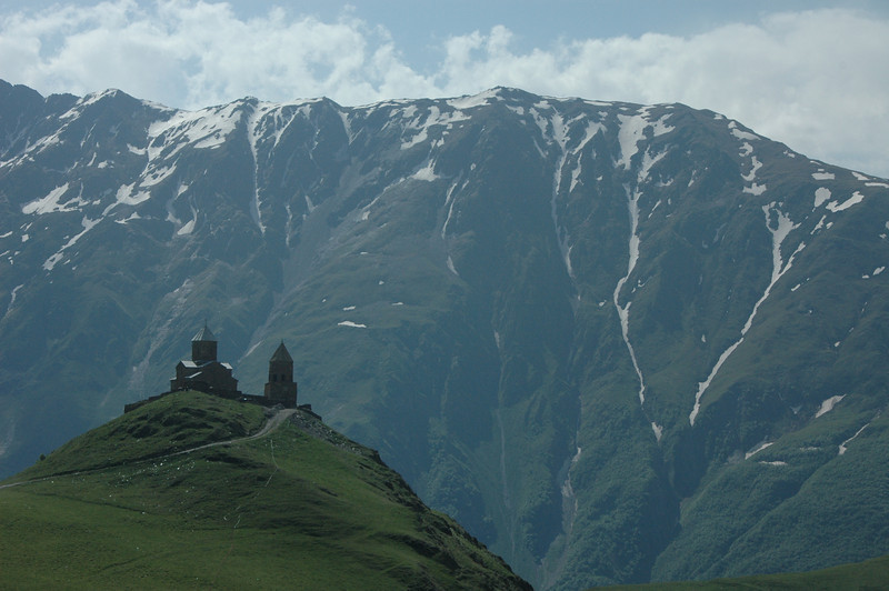 14th century Trinity Church (Tsminda Sameba) near Mt. Kazbek, Caucasus mountains, Republic of Georgia. We got a ride up in a  red Lada Niva, and hiked back down.