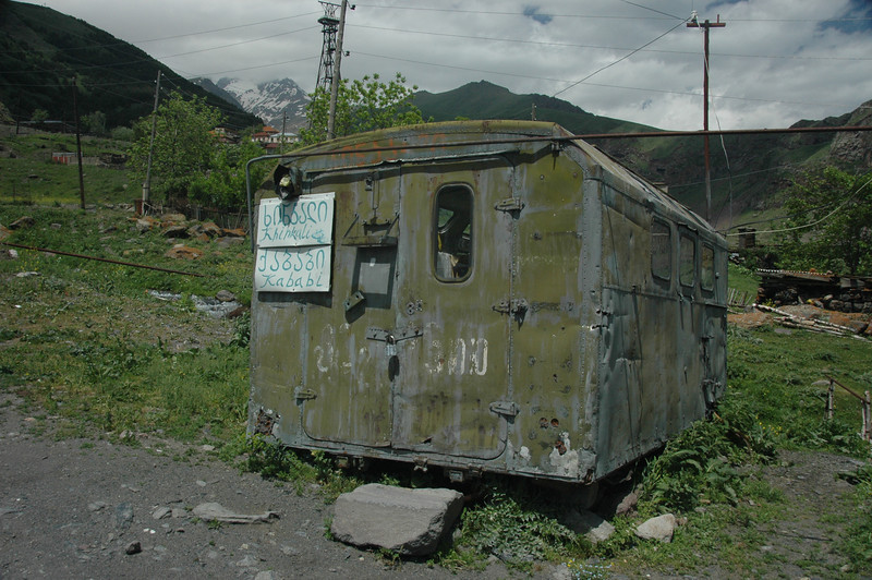 Fancy a kebab for lunch? Here's a kebab stand on the hike down to Kazbegi town. Regrettably, it appeared to be closed.