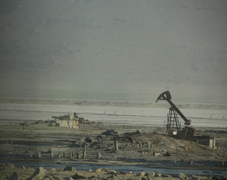 Several photographs of the oil business on Artyom Island, Azerbaijan.