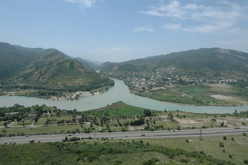 The Mtkvari and Aragvi Rivers at the town of Mtskheta, the ancient capital of the Republic of Georgia. Three and a half hours after leaving Tbilisi we were still here, just fifteen kilometers outside the capital, our destination up by the Georgian border with Russia, ten kilometers from Chechnya.