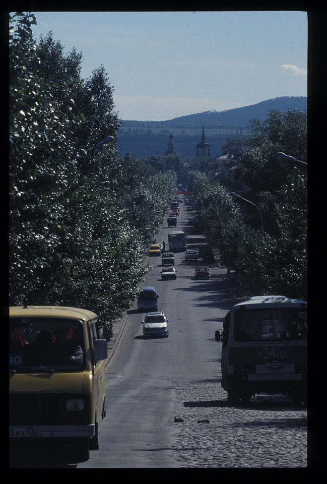 """The road out of Ulan Ude, or """"Red Ude."""" Ude is the river through the town."""