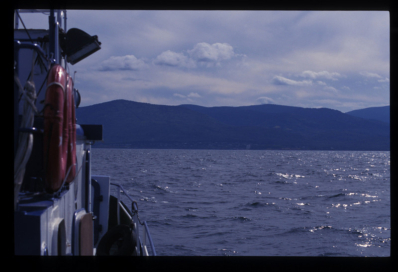 More clouds came in as the Poruchik sailed across Lake Baikal toward the Buryatian Autonomous Republic.