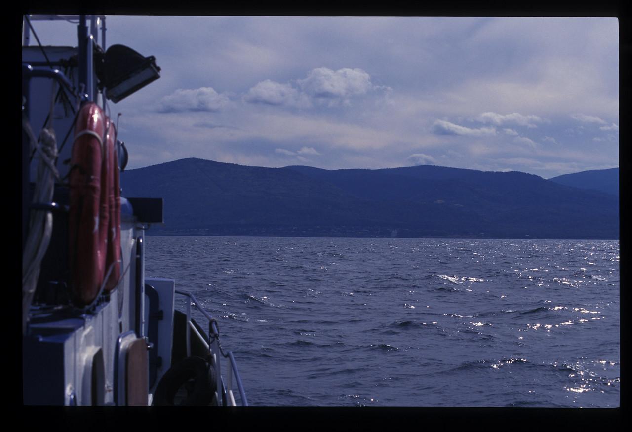 More clouds came in as the Poruchik sailed across Lake Baikal toward the Buryatian Autonomous Republic.