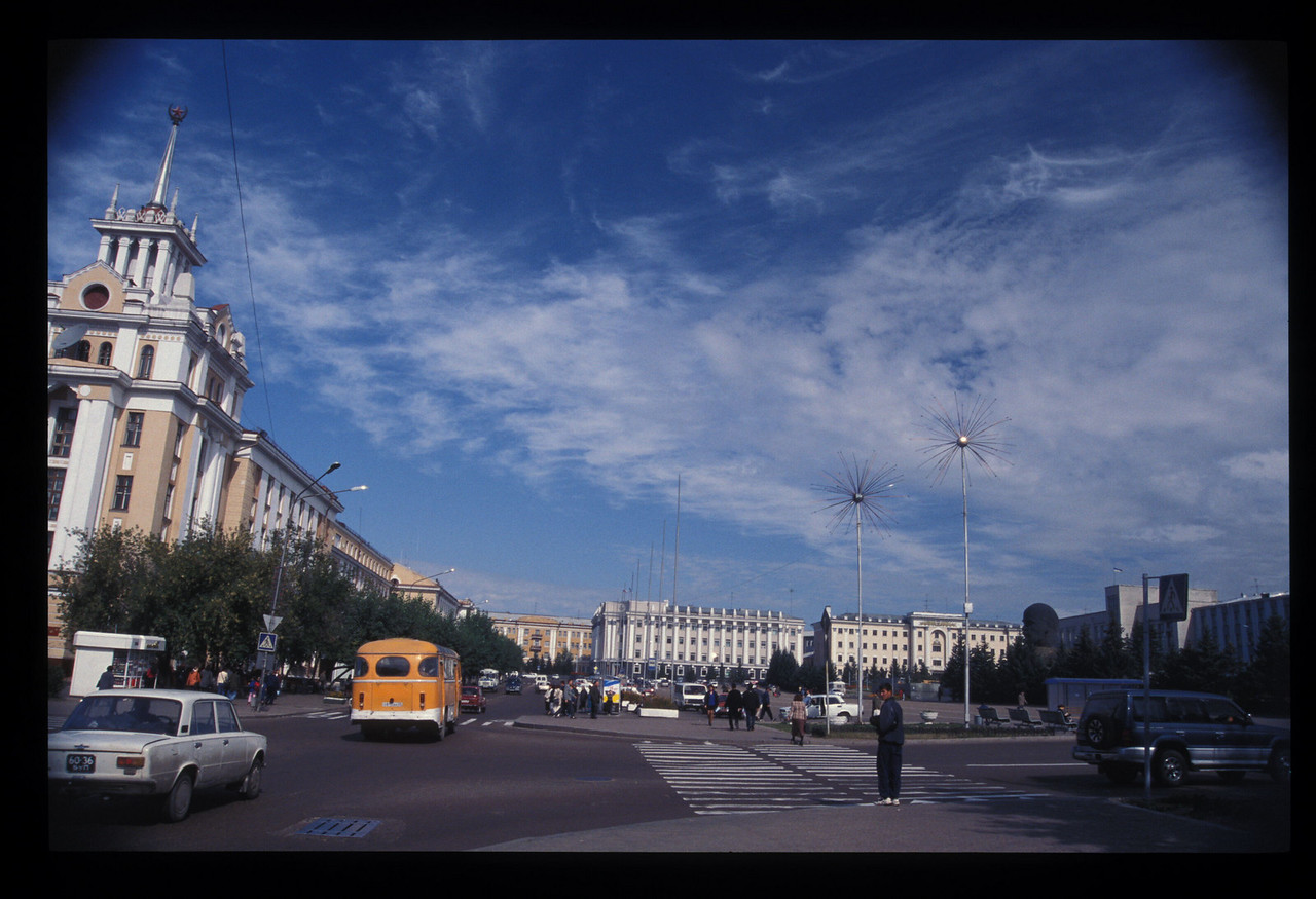 On the other side, the main square, Ulan Ude, Buryatian Autonomous Republic, Siberia, Russia. And the Lenin head over there on the right.