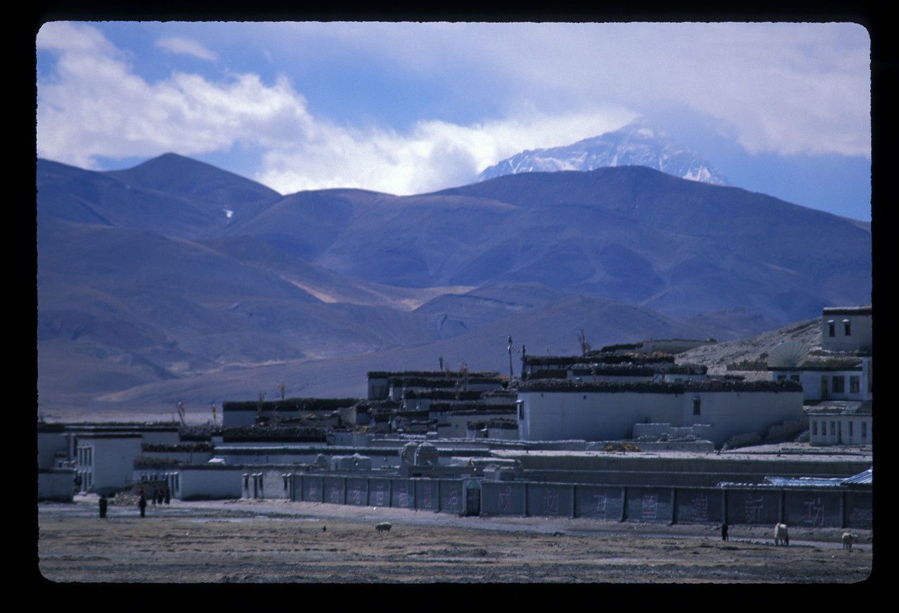 Our first view of Mt. Everest from the north. Not the view most of us outside China see. From Tinggri village, Tibet.
