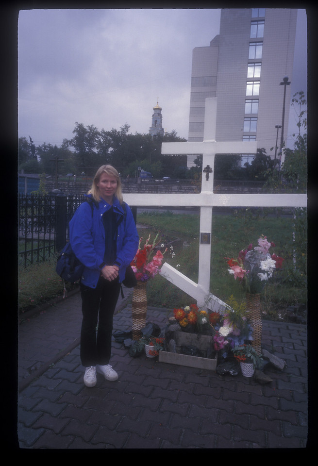 """The modest memorial at the site of the <a href=""""http://www.romanov-memorial.com/"""">Ipatiev House</a> in Ekaterinburg. The family of deposed Czar Nicholas was shot while holed up at the house during the revolution, in July 1918. In 1977, local Sverdlovsk (now """"E-kat"""") party boss Boris Yeltsin ordered the Ipatiev House destroyed."""