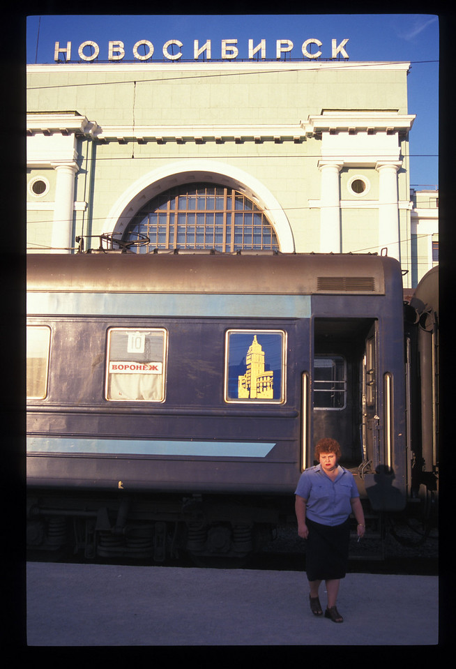 Here's the station at Novosibirsk, at 1.6 million the largest city in Siberia. Each carriage had its own provodnitsa. This was a carriage next to ours, so this provodnitsa isn't Lydia Ivanova.