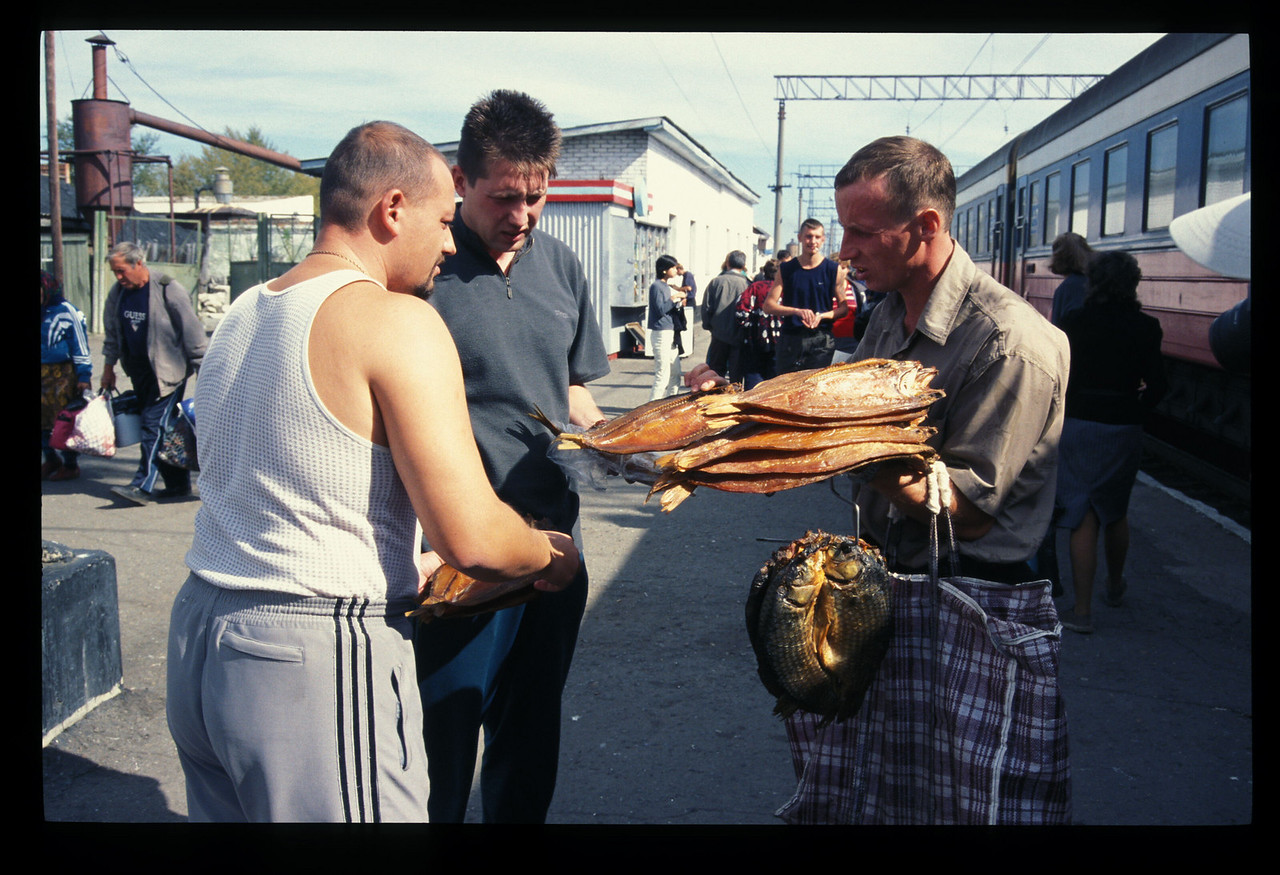 Dried fish for sale along the Trans-Siberian railroad, Russia.