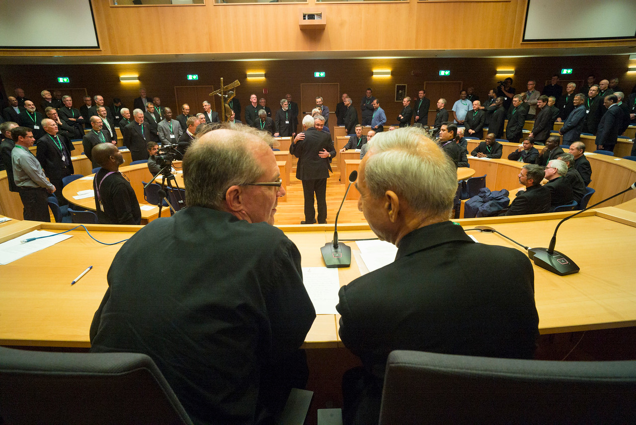 GC36 election of Fr. Arturo Sosa, of Venezuela, as Superior General of the Society of Jesus in the Aula by the Jesuits gathered from around the world.<br /> <br /> Jim Grummer, Vicar General of the General Congregation, and Orlando Torres, Secretary of the Congregation. Photo by Don Doll, SJ