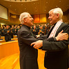 GC36 election of Fr. Arturo Sosa, of Venezuela, as Superior General of the Society of Jesus in the Aula by the Jesuits gathered from around the world.<br /> <br /> Now former Superior General, Adolfo Nicolås congratulates for Arturo Sosa, the new Superior General. Photo by Don Doll, SJ