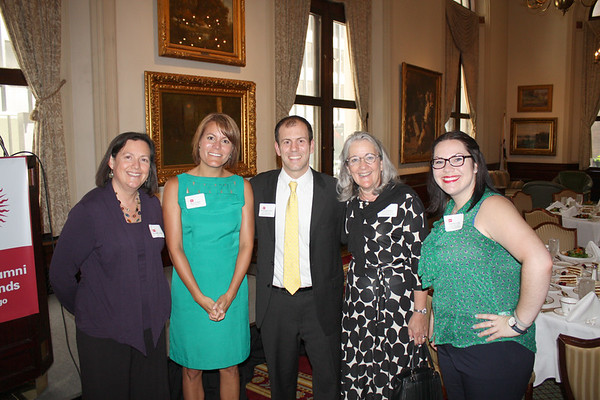 Featured speaker, Chris Kerr, (alum of Walsh Jesuit High School and John Carroll University), meets with (from left) Jenene Francis (Midwest Jesuits), Amy O'Neil (Alpha Sigma Nu), Kate Gaertner (Alpha Sigma Nu, alum of Marquette University and Loyola University), and Deirdre Long (alum of Loyola University Chicago and University of San Francisco, Charis Ministries).