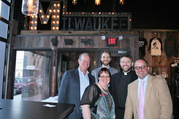 Joe Sweeney (Midwest Jesuits - Regional Director, Chicago), Monika Sobierajski (Midwest Jesuits - Planned Giving Coordinator), Brian Harper (Midwest Jesuits - Communications Specialist, Joe Simmons, SJ (Guest Speaker), and Dan O'Brien (Midwest Jesuits - Regional Director, Milwaukee/Omaha)